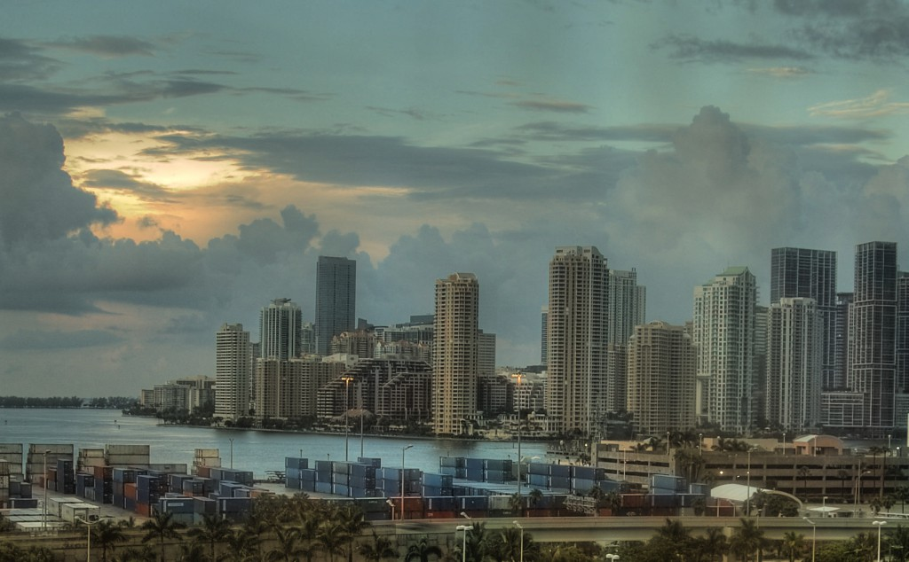 City of Miami from the balcony of our cruise ship